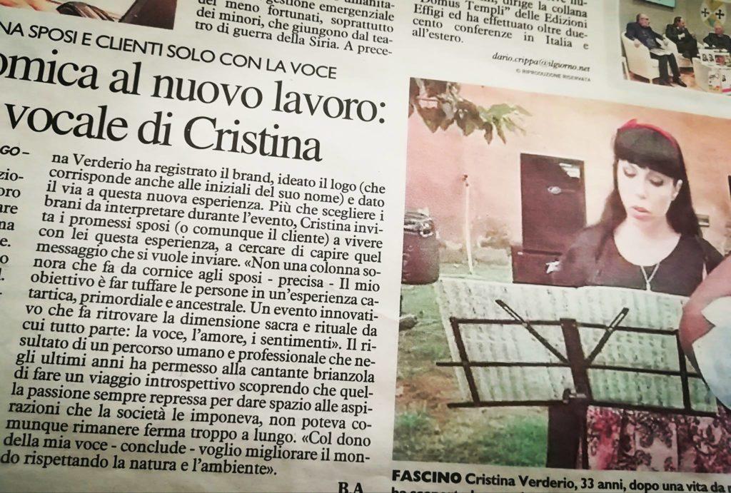 articolo su cerimonia vocale pubblicato sul quotidiano il giorno, cantante lirica cristina verderio