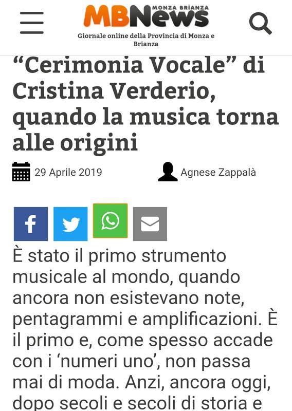 articolo su cerimonia vocale cantante lirica cristina verderio pubblicato sulla testata mb news