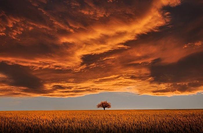 tramonto suggestivo al centro del cuore